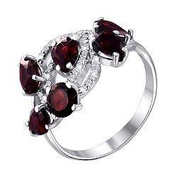 Серебряное кольцо с гранатами и цирконием 000063414