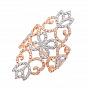 Золотое узорное кольцо в комбинированном цвете с фианитами 000133088
