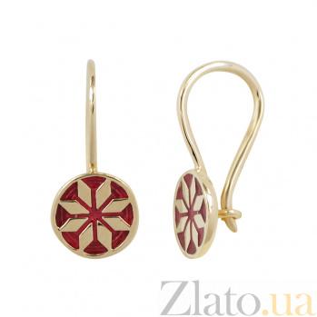 Золотые серьги Лайма с красной эмалью 2С766-0010