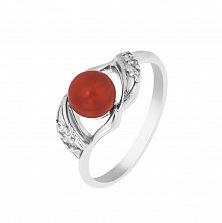 Серебряное кольцо Агния с кораллом и фианитами