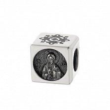 Серебряный шарм в форме куба Иисус Спаси и Сохрани с черной эмалью