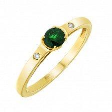 Золотое кольцо Миледи в евро цвете с изумрудом и бриллиантами