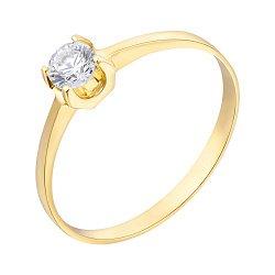 Кольцо из желтого золота с цирконием Swarovski 000099200