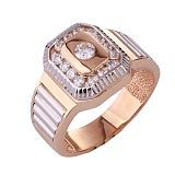 Золотое кольцо-печатка с фианитами Роял
