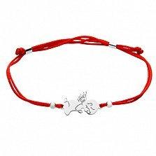 Шелковый браслет с серебряной вставкой Ангел