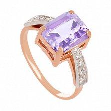 Золотое кольцо с аметистом и фианитами Айлин