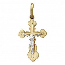 Крестик из серебра Силы небесные с позолотой