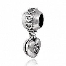Серебряный подвес - шарм с фианитами Сердце в любви