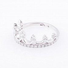 Золотое кольцо-корона Всевладычица в белом цвете с бриллиантами
