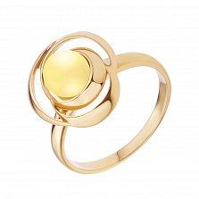 Позолоченное серебряное кольцо Восхищение в форме розы с бусиной лимонного янтаря