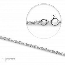 Серебряная родированная цепочка Эмма кордового плетения, 3 мм