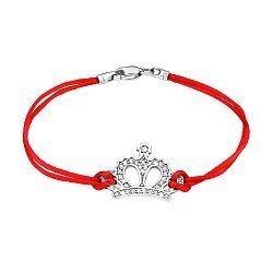 Браслет из красной шелковой нитки и серебра с цирконием 000140036