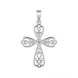 Серебряный декоративный крестик с фианитом 000148143