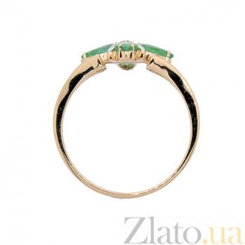 Золотое кольцо в красном цвете с изумрудами и бриллиантом Грация ZMX--RE-5504_K