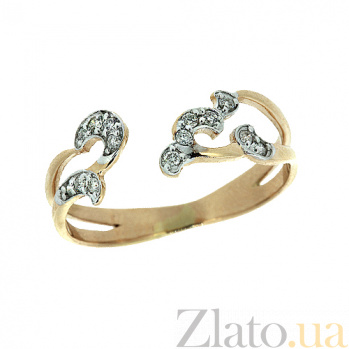 Золотое кольцо в красном цвете с бриллиантами Делия 000021401