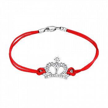 Браслет з червоної шовкової нитки і срібла з цирконієм 000140036