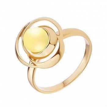 Серебряное кольцо с бусиной лимонного янтаря и позолотой 000118974