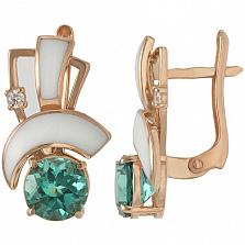 Золотые серьги Манон с кварцем, фианитами и эмалью