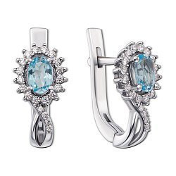 Серебряные серьги Жасмин с голубыми топазами и цирконием