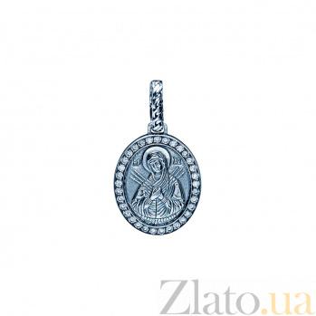 Серебряная ладанка с фианитами Семистрельная 000027072