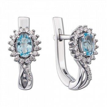 Серебряные серьги с голубыми топазами и цирконием 000010833