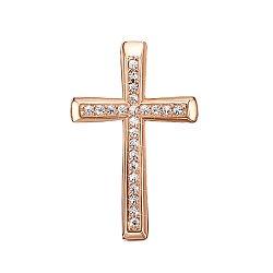 Золотой декоративный крестик Сонет с кристаллами Swarovski