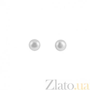 Серебряные пуссеты Кларисса с шариками жемчужин 8-8,5мм 000058255