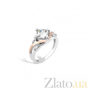 Серебряное родированное кольцо Белла с золотыми накладками и белыми фианитами 000082145