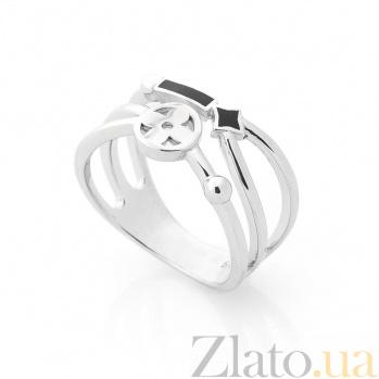 Серебряное кольцо Патриция с черной эмалью 000080139