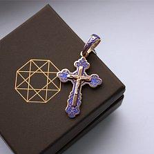 Серебряный крест позолоченный с синей эмалью Небесный ангел