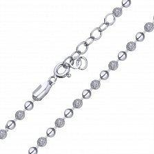 Серебряное колье Акулина из шариков с глянцевой и фактурной поверхностью