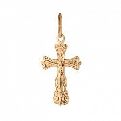 Золотой крестик Вечное Слово на фигурной основе с узорами по периметру 000071535