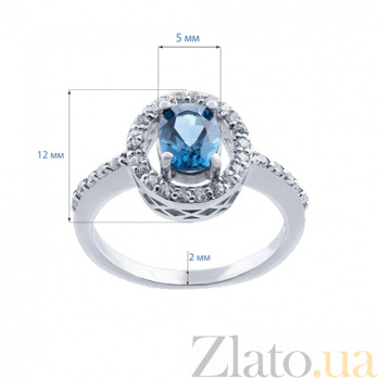 Серебряное кольцо с топазом Синева  AQA--R00954TLB