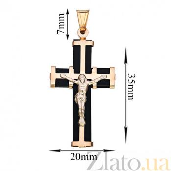 Золотой крестик Иисус Христос со вставкой каучука TNG--940011