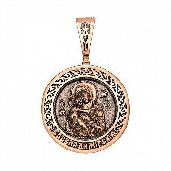 Ладанка из красного золота Богоматерь Владимирская с чернением 000123844