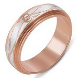 Обручальное кольцо из красного золота Вечность с белой эмалью