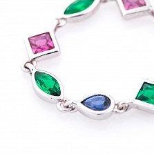 Серебряное кольцо Карнавал с зелеными, розовыми и синим фианитами