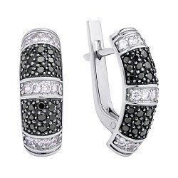 Серебряные серьги с черными и белыми фианитами 000118033