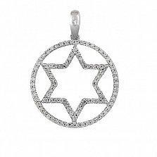 Кулон из белого золота с бриллиантами Шестиконечная звезда