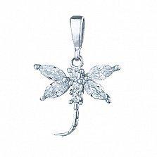 Серебряный подвес с кристаллами циркония Стрекоза