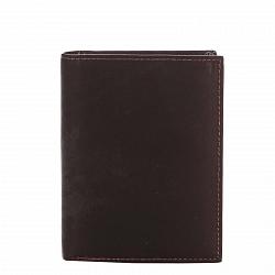 Кожаный кошелек-книжка Genuine Leather 7332 коричневого цвета