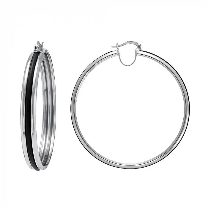 Серебряные серьги Паула с каучуковыми вставками 000079881
