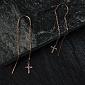 Серьги-протяжки из красного золота Веллари с фианитами в крестиках 21631/01/0/42