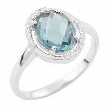 Кольцо из серебра Вайнона с топазом лондон и фианитами