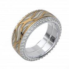 Кольцо из комбинированного золота Акварель с эмалью и бриллиантами