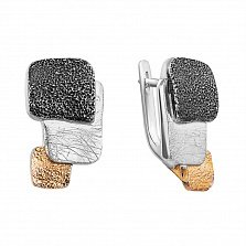 Серебряные серьги с позолотой и чернением Рипсиния