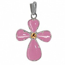 Серебряный крестик Вавилон с розовым кварцем и золотой накладкой