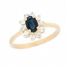 Золотое кольцо Малинка в красном цвете с сапфиром и бриллиантами