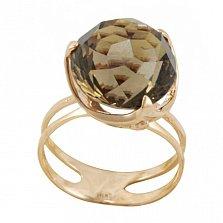 Золотое кольцо Хрустальный шар вещуньи с двойной шинкой и раухтопазом