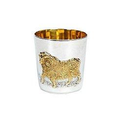 Серебряный стакан Овца с позолотой